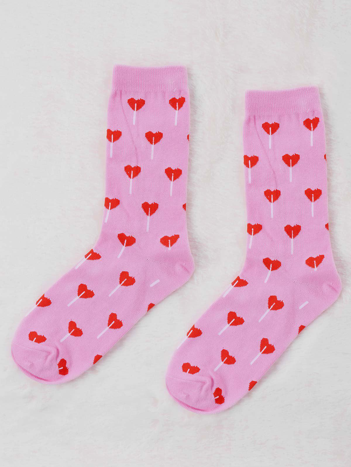 Pair Of Heart Valentine Graphic Socks - PINK