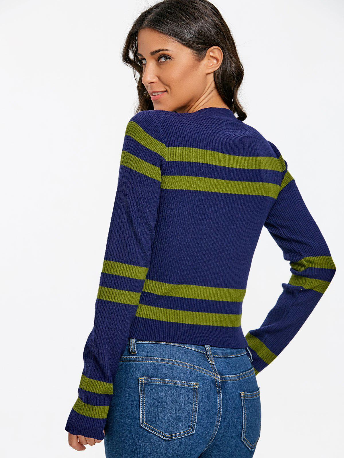 Stripe Crew Neck Ribbed Sweater - BLUE ONE SIZE
