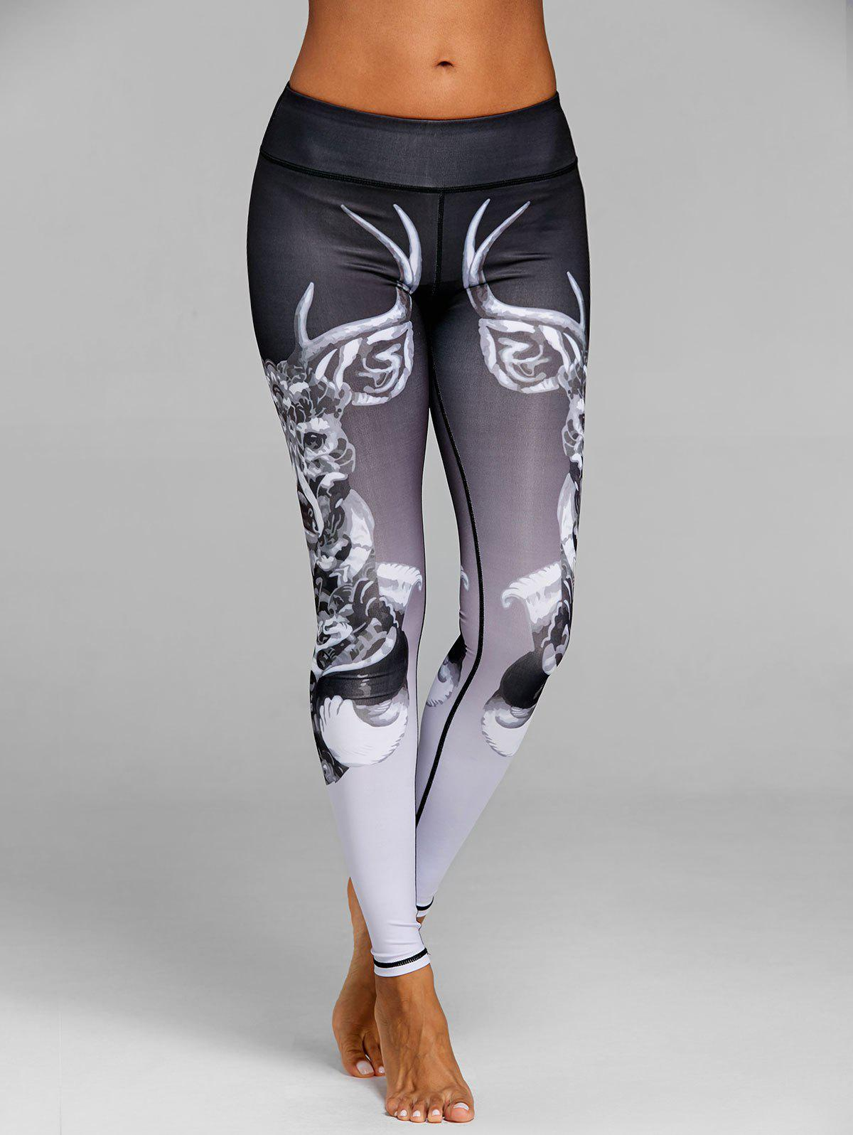 Ombre Elk Printed Workout Leggings - BLACK L