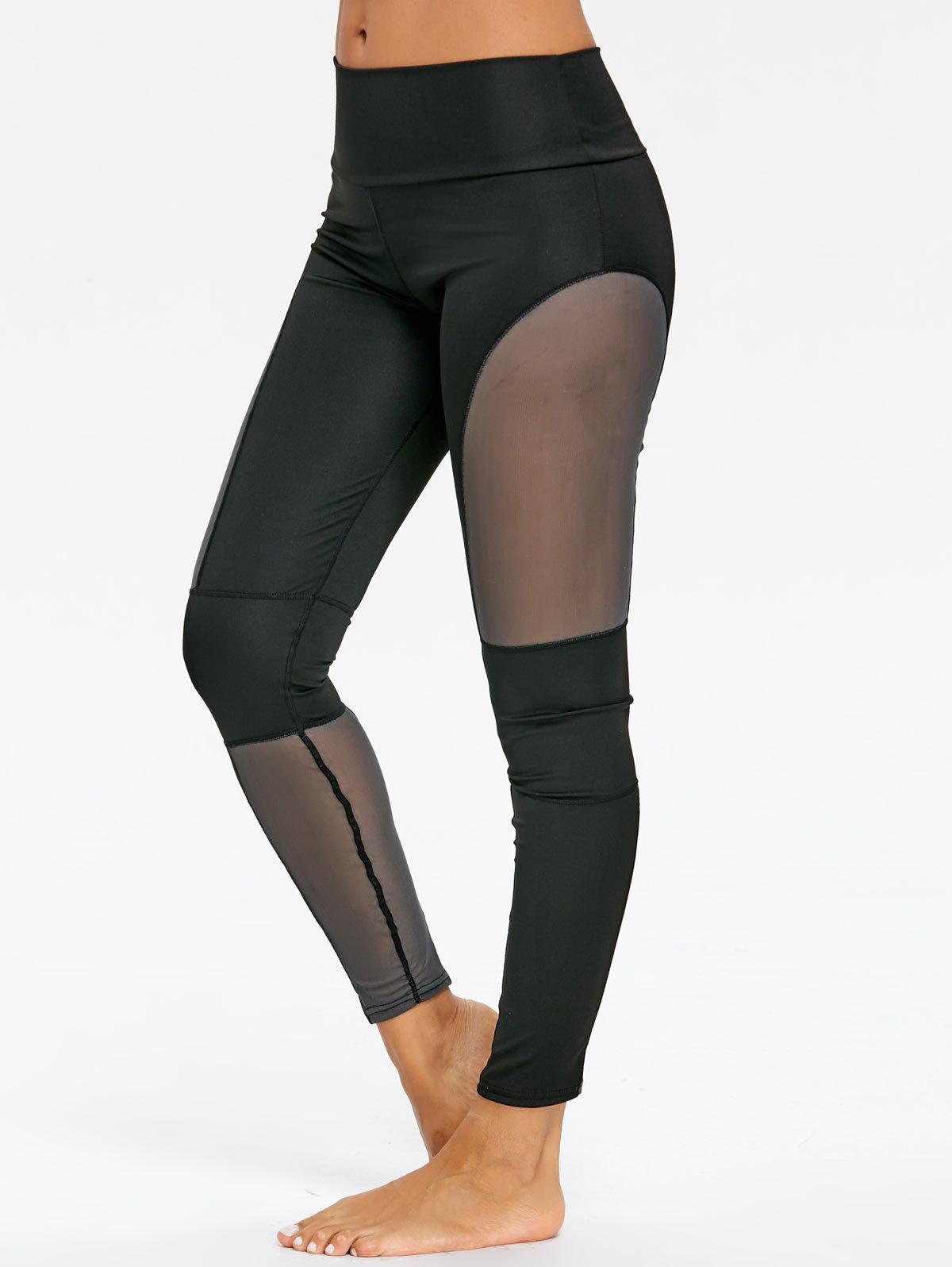 Sports See Through Mesh Panel Leggings maytoni arm033 01 bl