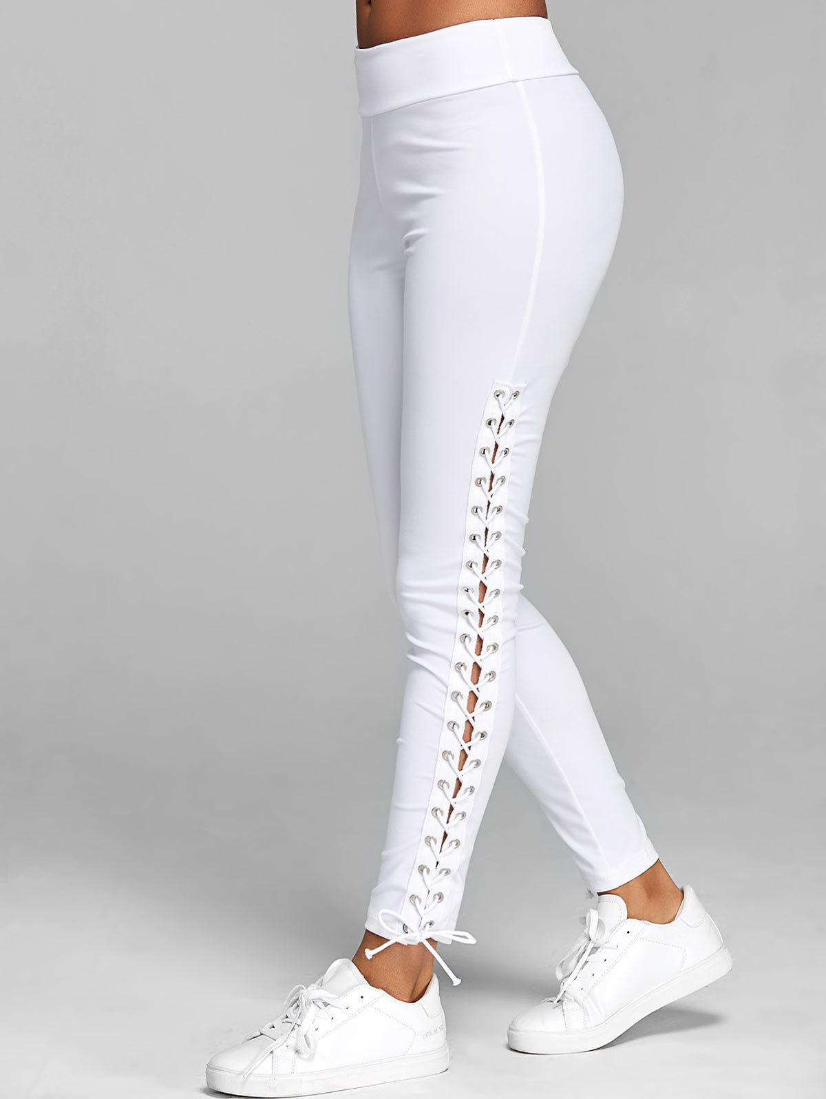 Lace Up Elastic Waist Leggings - WHITE M