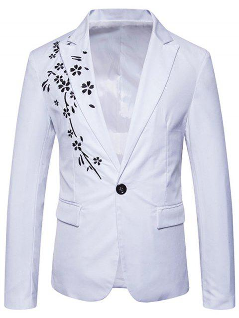 Casual One Button Floral Embroidery Blazer - WHITE M