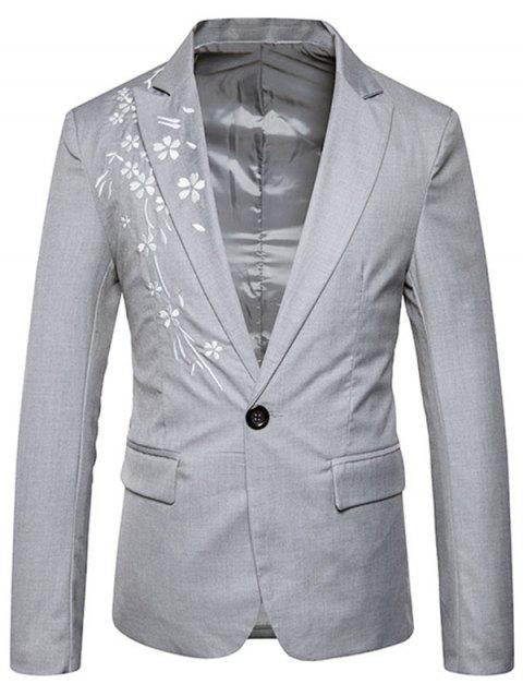 Casual One Button Floral Embroidery Blazer - GRAY S