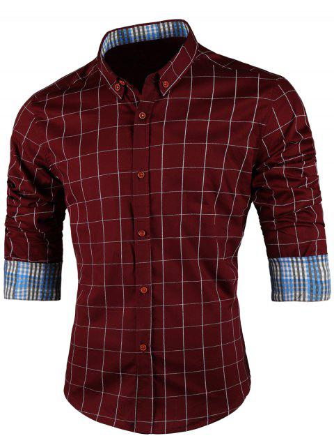 Point Collar Long Sleeve Checked Shirt - WINE RED 3XL