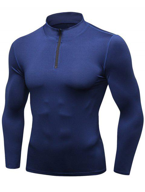 Quick Dry Stand Collar Half Zip Stretchy T-shirt - CADETBLUE L