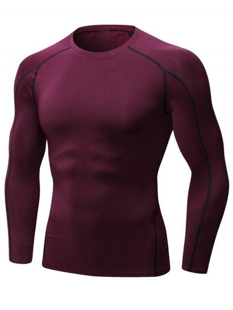 Stretchy Quick Dry Suture Long Sleeve T-shirt - WINE RED 2XL