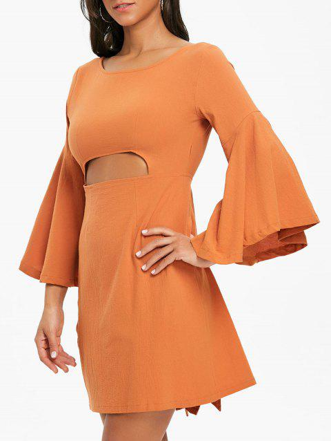 Flare Sleeve Cut Out Bowknot Mini Dress - ORANGE L