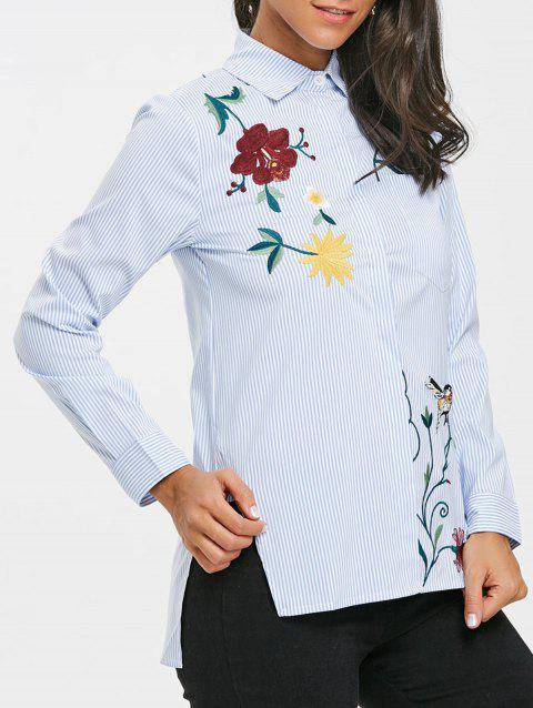 Embroidered High Low Blouse - LIGHT BLUE L