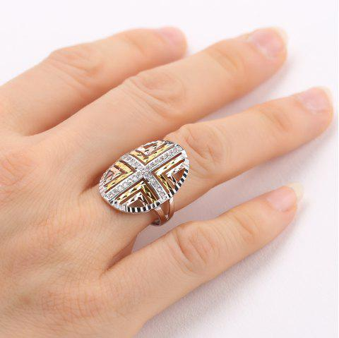 Geometric Hollow Out Sterling Sliver Ring - COLORMIX ONE-SIZE