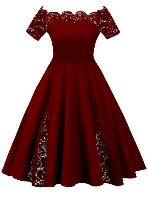 d28da72bed73 41% OFF] 2019 Plus Size Off Shoulder Lace Panel Dress In WINE RED ...