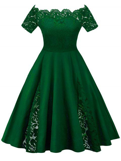 35% OFF] 2019 Plus Size Off Shoulder Lace Panel Dress In GREEN ...
