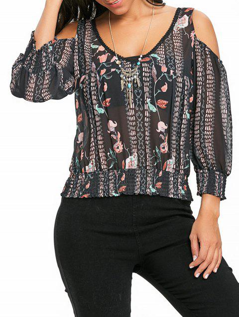 Floral Cold Shoulder Chiffon Blouse - BLACK XL