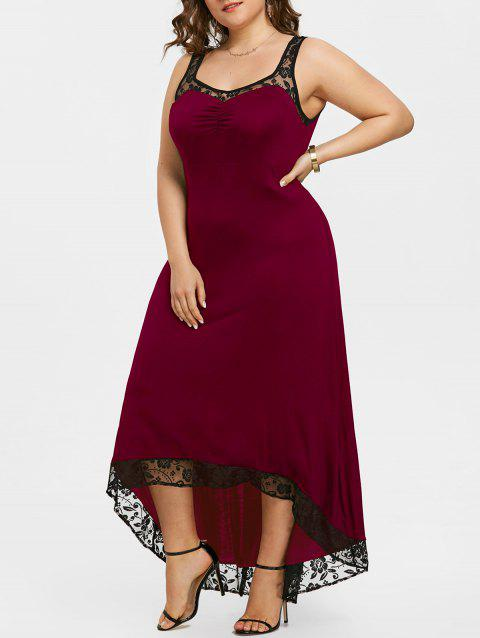 High Low Plus Size Party Maxi Dress - WINE RED 5XL