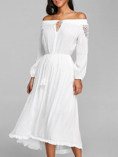 Crochet High Low Off The Shoulder Dress - WHITE M