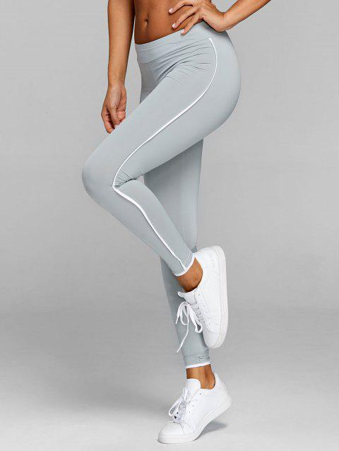 Two Tone Fitness Leggings - GRAY M