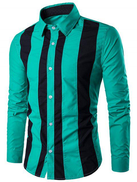 Contrast Vertical Stripe Casual Shirt - GREEN XL
