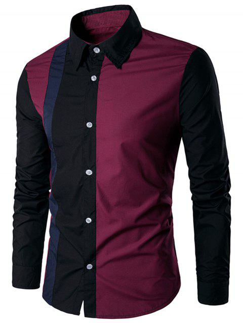 Button Up Two Tone Casual Shirt - WINE RED L