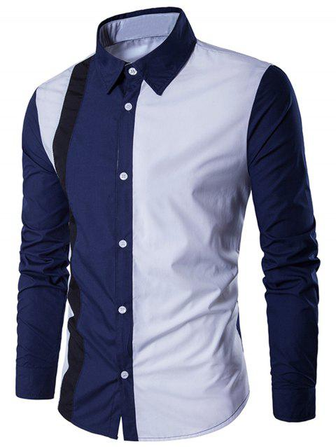 Button Up Two Tone Casual Shirt - WHITE L