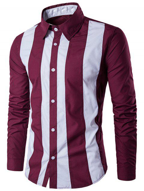 Contrast Vertical Stripe Casual Shirt - WINE RED 3XL