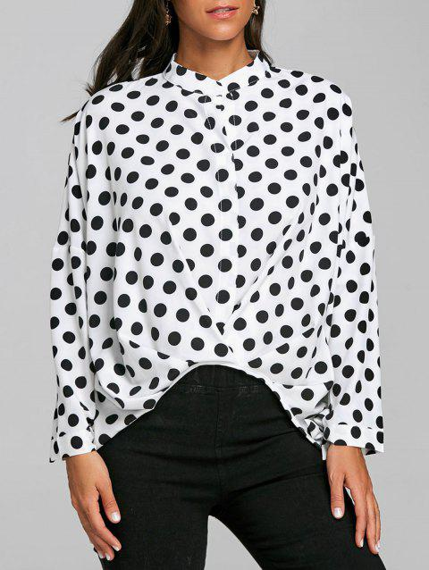 Polka Dot High Low Blouse - WHITE XL