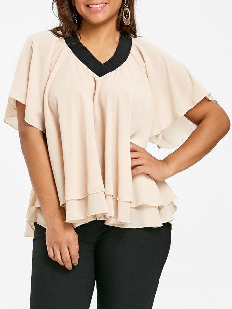 Layered Plus Size Chiffon Top - KHAKI XL