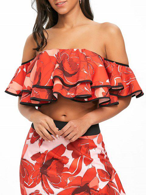 Off The Shoulder Layered Floral Crop Top - RED M