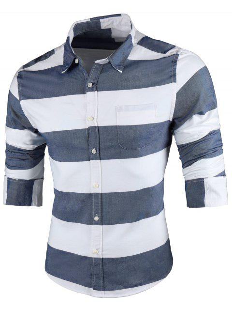 Pocket Contrast Wide Stripe Shirt - LIGHT BLUE XL