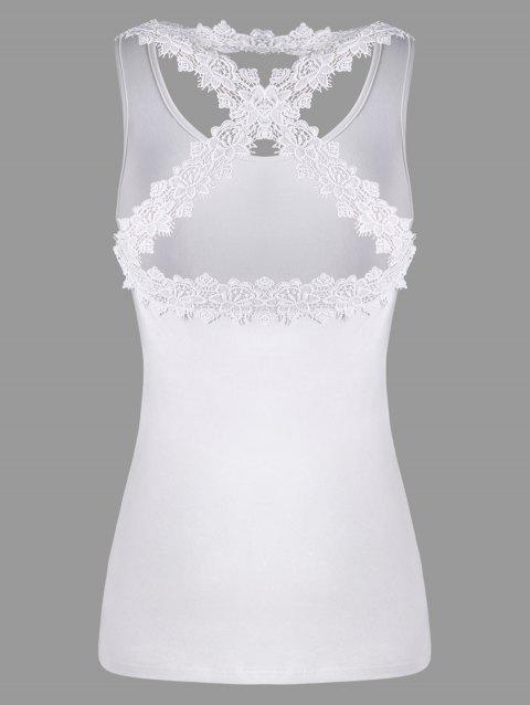 Lace Insert Criss Cross Tank Top - WHITE M