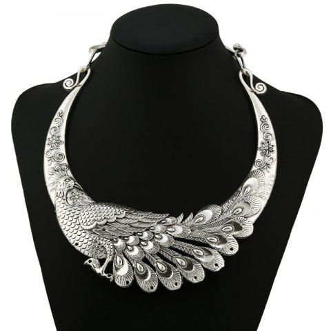 Peacock Shape Metal Necklace - SILVER