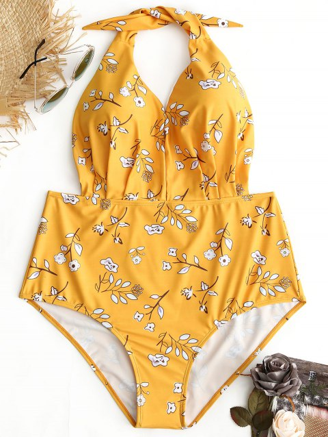 Floral Halter Plus Size Swimwear - YELLOW 2XL