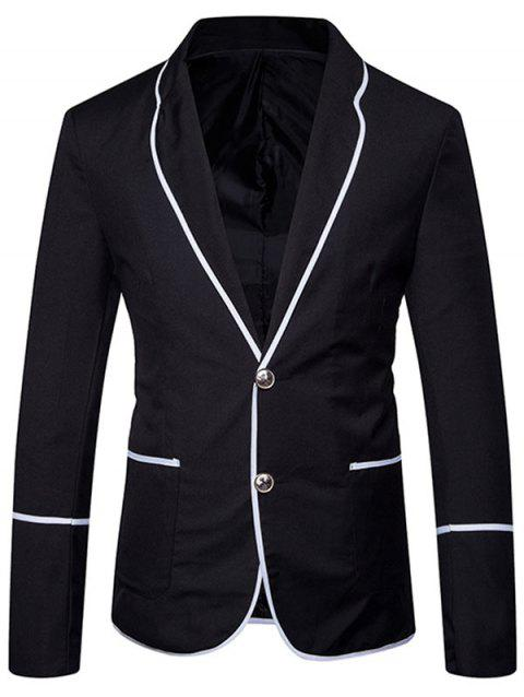 Edging Single Breasted Casual Blazer - BLACK L