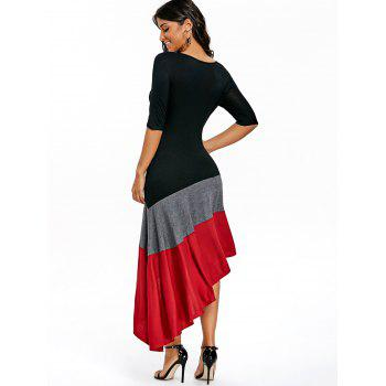 Color Block Asymmetric Dress - BLACK L