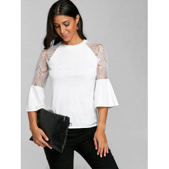Flare Sleeve Lace Insert Top - WHITE XL