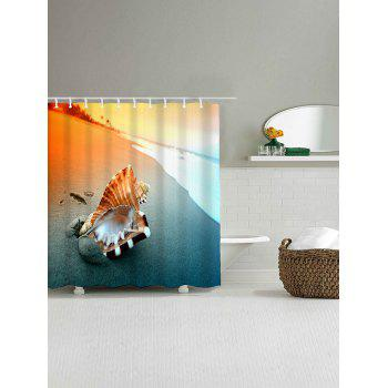 Beach Conch Print Waterproof Polyester Bath Curtain - COLORMIX W59 INCH * L71 INCH