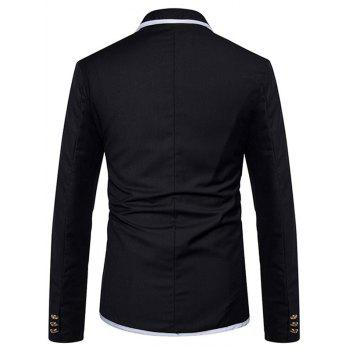 Contrast Trim Design Lapel Collar Casual Blazer - BLACK M