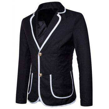 Contrast Trim Design Lapel Collar Casual Blazer - BLACK S