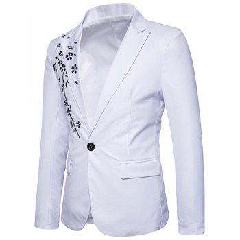 Casual One Button Floral Embroidery Blazer - WHITE S