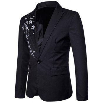 Casual One Button Floral Embroidery Blazer - BLACK S