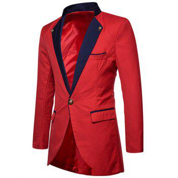 Two Tone One Button High Low Blazer - RED S