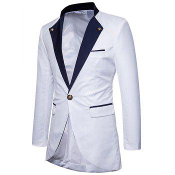 Two Tone One Button High Low Blazer - WHITE S