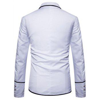 Edging Single Breasted Casual Blazer - WHITE L