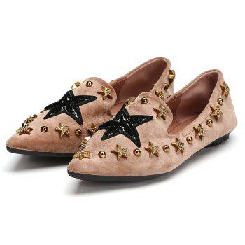 Star Metal Studded Embellished Flats - LIGHT BROWN 38