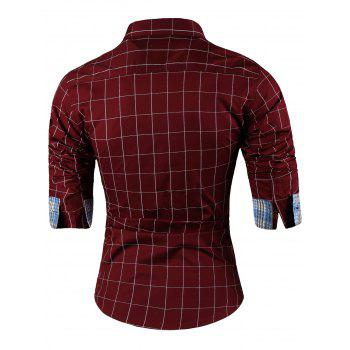 Point Collar Long Sleeve Checked Shirt - WINE RED XL