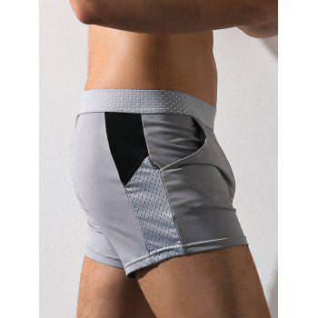 Graphic Print Openwork Boxer Brief - GRAY GRAY