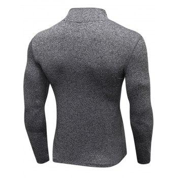Quick Dry Stand Collar Half Zip Stretchy T-shirt - GRAY GRAY