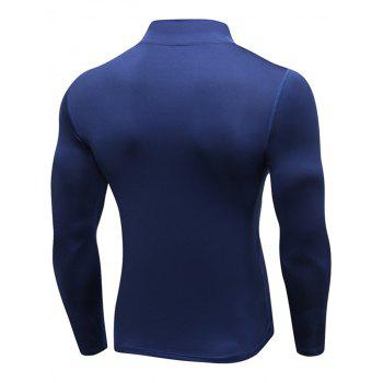 Quick Dry Stand Collar Half Zip Stretchy T-shirt - CADETBLUE XL
