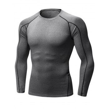 Stretchy Quick Dry Suture Long Sleeve T-shirt - GRAY GRAY