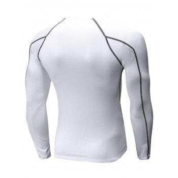 Stretchy Quick Dry Suture Long Sleeve T-shirt - WHITE WHITE