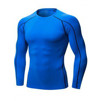 Stretchy Quick Dry Suture Long Sleeve T-shirt - BLUE BLUE