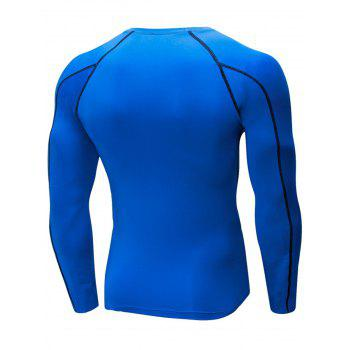 Stretchy Quick Dry Suture Long Sleeve T-shirt - BLUE XL
